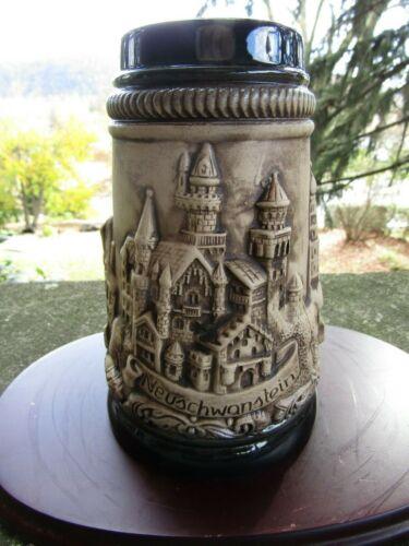 Vintage Handarbeit German Bavaria München Rothenburg Neuschwanstein Beer Stein