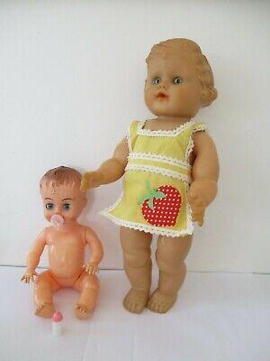 "2 x Vintage 1950s Hard Plastic Blue Box 8"" Bent LImb baby Doll  & Rubber doll"