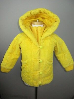 Vintage Heart Warmer Girls size S Yellow an Red Corduroy Hooded Insualted Jacket
