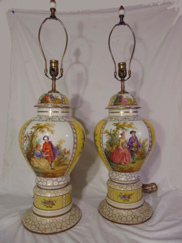 Pr Yellow German Porcelain Dresden Urn Table Lamps Watteau Genre Scenes