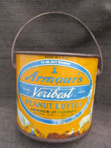 VINTAGE 1920s-1930s ARMOURS VERIBEST PEANUT BUTTER TIN CAN w NURSERY RHYMES