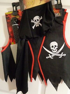Birthday Themed Halloween Costumes (NWT Boy's 3 pc  Halloween Pirate costume vest hat knife size 3+  Birthday theme)