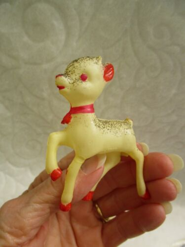 VINTAGE CELLULOID BABY FAWN DEER BLACK GLITTER CHRISTMAS DECORATION/ORNAMENT
