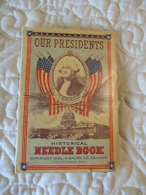 Vtg Historical 20s Needle Book American Our Presidents Trifold Sewing Coolidge