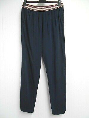 "JUCCA loose navy trousers striped elasticated waist 30"" inside leg IT44 UK12"