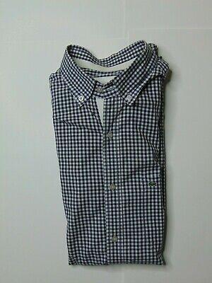 Lacoste Mens 42 Long Sleeve Dress Shirt Regular Fit Checkered Button Front Blue
