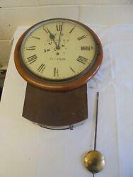 Antique Fusee Drop Dial School Railway Clock Gillett & co wall clock 12  dial