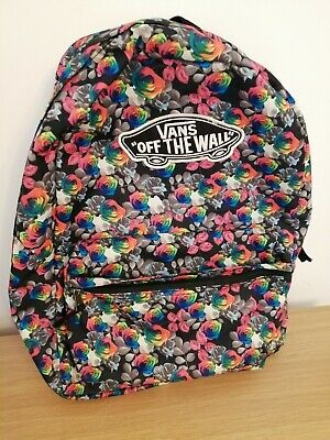 Womens Vans backpack, black and multicoloured rose