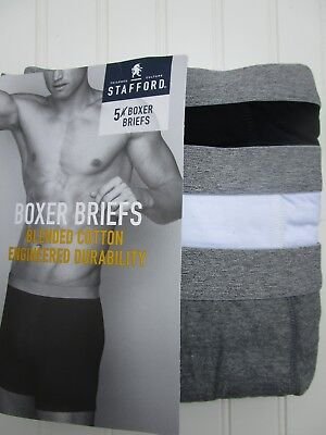 Stafford 5-Pack Men's Boxer Briefs Black Gray  pack - XL Size