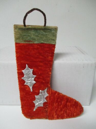 Vintage Japan Chenille Christmas Stocking Ornament