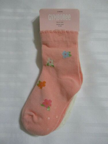 NEW GIRLS GYMBOREE 2 PAIRS 18-24 MONTHS SHOE SIZE 6 CORAL FLORAL IVORY SOCKS