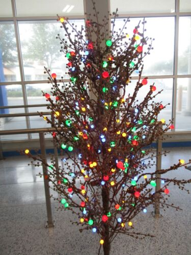 GE 5 FT PRE-LIT BROWN WINTER BERRY W 200 MULTI COLOR LED LIGHTS TREE - NEW