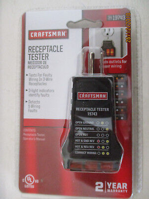 Craftsman Receptacle Tester Voltage Power Supply For 3 Wire Receptacles