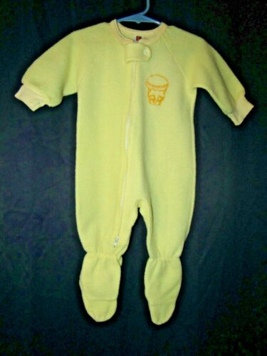 Vintage Sleeper Footie Pajamas Yellow One piece Sz 12 months Carters