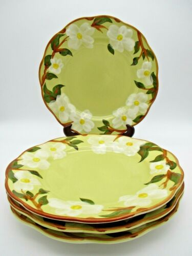 "Stangl Pottery ""White Dogwood"" Set of 4 Dinner Plates New Jersey USA"