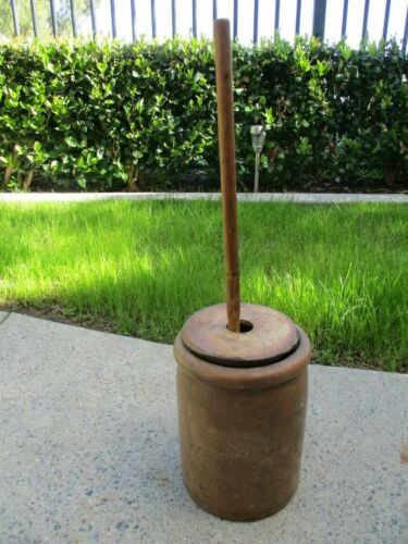 Antique Stoneware Butter Churn w/ Wooden Dasher & Handmade Lid Old Primitive