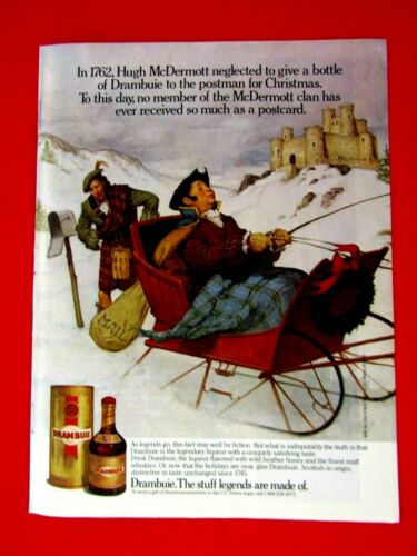 "Hugh McDermott  The Postman 1989 Red Ribbon Drambuie Original Print Ad 8.5 x 11"""