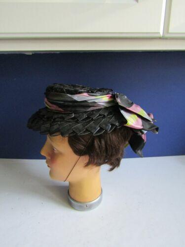 Vtg Edwardian Black Straw Gibson Girl Seashore Style Hat