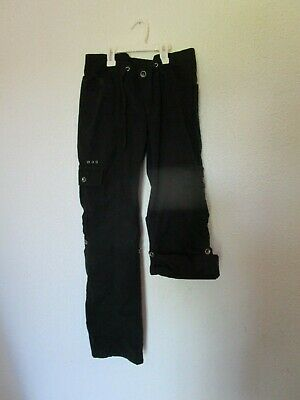 womens black HARLEY-DAVIDSON capri crop pants drawstring biker casual 8