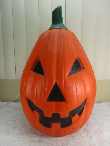 "Vintage HUGE Lighted Pumpkin Jack O Lantern Blow Mold Halloween Lawn Decor 23"""