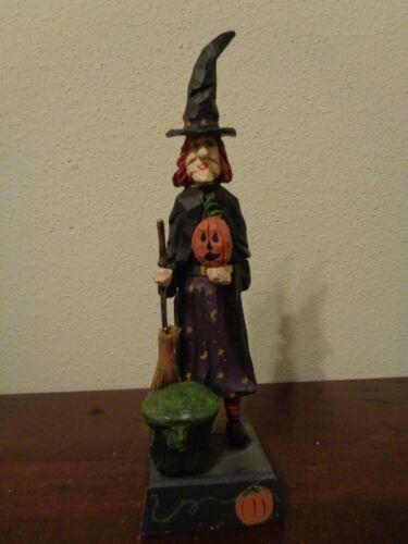 """House Of Hatten 1997 Witch W/Pumpkin Broom Cauldron Halloween 13 1/2"""" Figurine"""