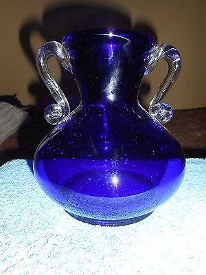 """COBALT GLASS VASE APPLIED CLEAR RIBBON HANDLES 7"""" COBALT ART GLASS CHAMBER VASE"""