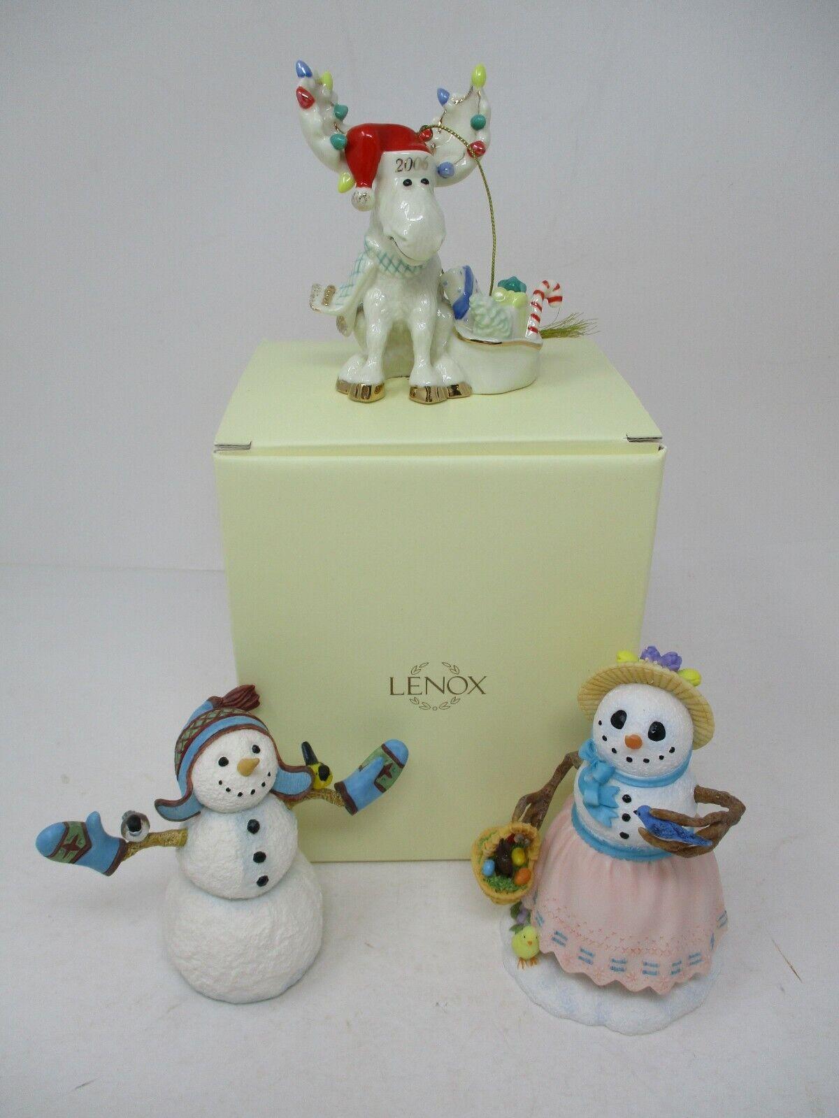 Lenox Christmas Figurine Lot Of 3~ Snowmen & Reindeer
