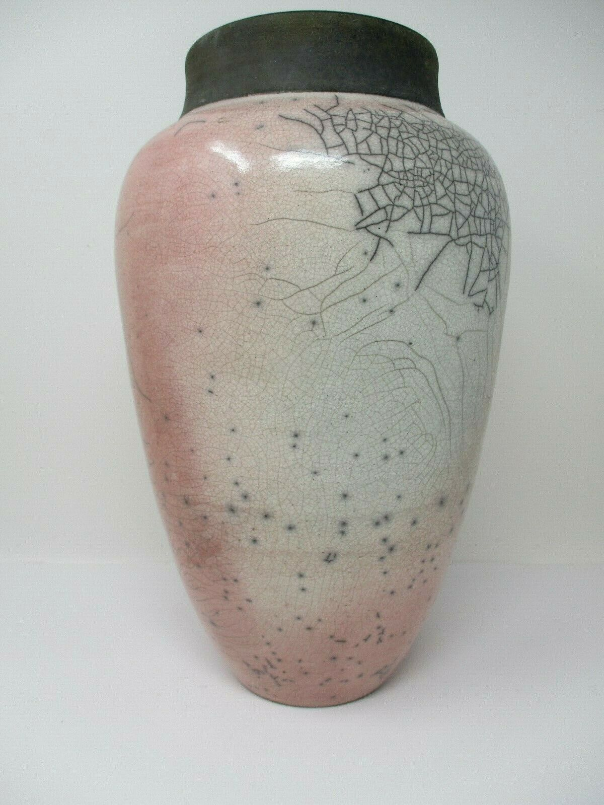 "Handcrafted Mauve Grey 12"" Ceramic Art Vase Signed By Artist"