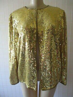 LAURENCE KAZAR GOLD SEQUIN EMBELLISHED LONG SLEEVE BLAZER JACKET SIZE S - NWT](Gold Sequin Blazer)