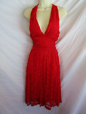 RED LACE Marilyn Monroe 60s Style Costume Party Halter Xstrap Top Pinup Dress ](60s Style Costumes)
