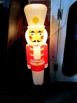 "VTG White Hat 30"" Lighted Christmas Nut Cracker Toy Soldier Blow Mold-USA Made"