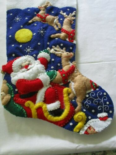 """Finished/Completed Bucilla 18"""" Felt Christmas Stocking- """"AND TO ALL A GOODNIGHT"""""""