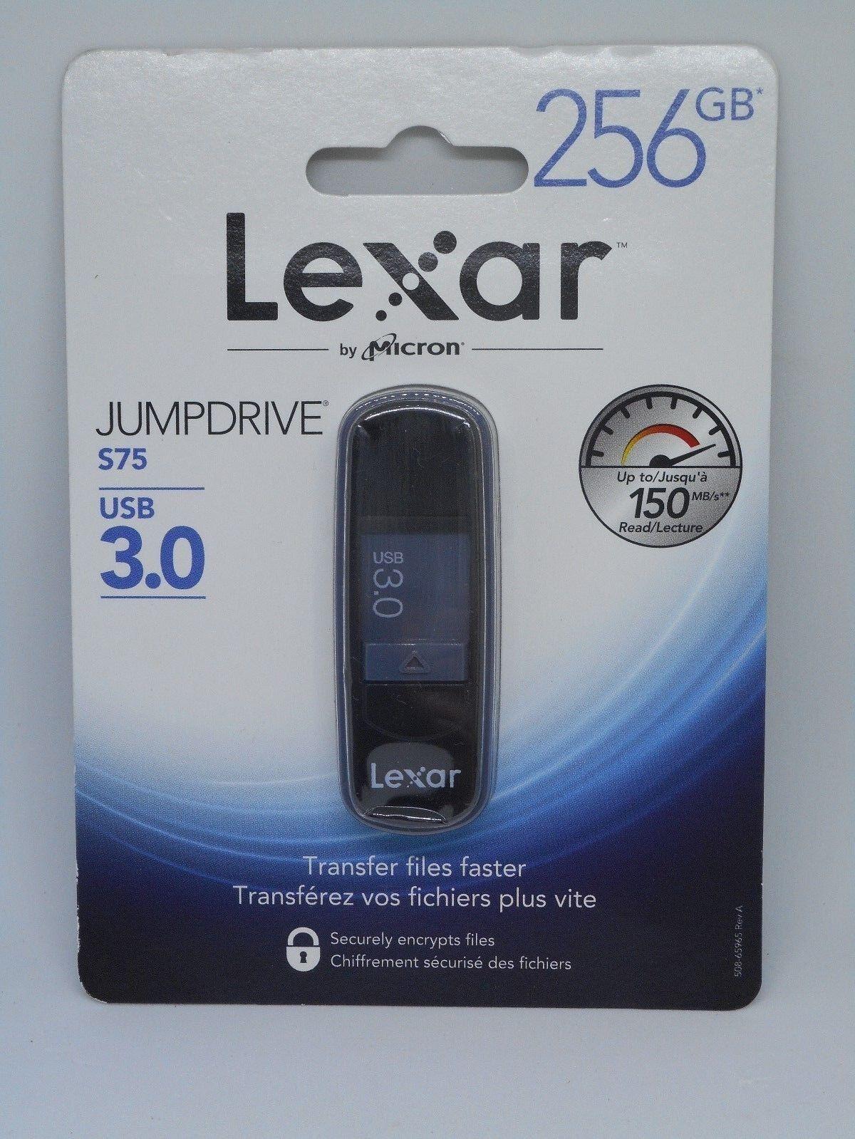 Lexar JumpDrive S75 USB 3.0 Flash Drive, 256GB with Data Enc