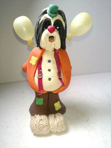 Vintage Cecile Bairde Clay Shihtzu Clown  - RARE signed & Stamped