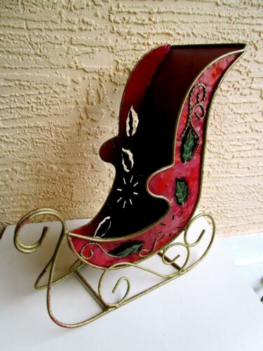 VINTAGE HUGE TIN SLEIGH FANCY METAL RUNNERS & CUT HOLLY DESIGN TABLE DECORATION