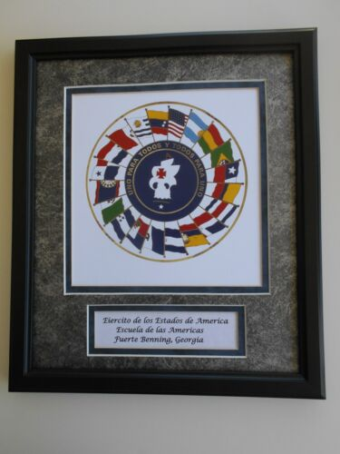 SCHOOL OF THE AMERICAS  -   ORIGINAL SEAL  -      FRAMED ART