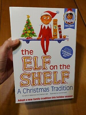 Elf on the Shelf A Christmas Tradition Story Book Doll Boy Dark Skin Rectangle