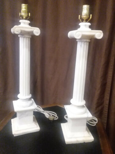 Alabaster Lamps- Not Marble Original Vintage Old Old Empire Newly Rewired Italy