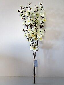 Pack of 6 Artificial Cream Cherry Blossom Stems - 70cm - Fake Flower Stems