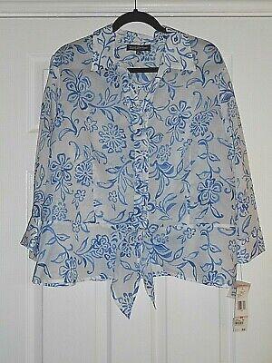 Jones New York Blue & White Floral Long Sleeved Blouse Shirt Size 22