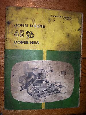 Vintage John Deere Operators Manual- 45 Hi - Lo Combines