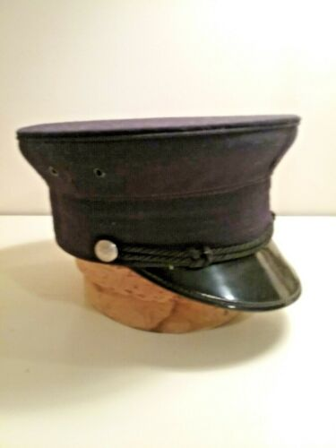 vintage Fire Department blue wool dress hat with FD buttons size 6 7/8