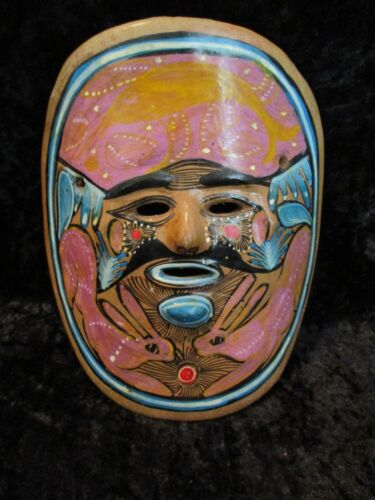Vintage Mexican Folk Art Pottery Clay Hand Painted Wall Hanging Mask w/2 Rabbits