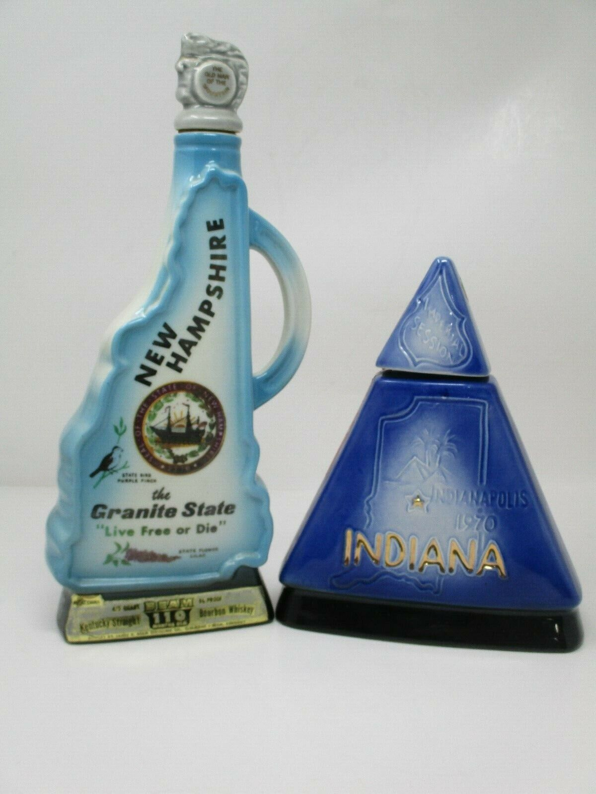 Vintage Jim Beam Bourbon Whiskey State Decanters~ New Hampshire & Indiana