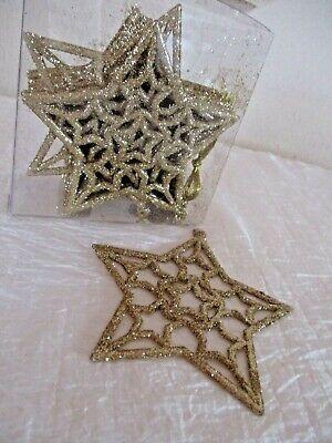 Sterne Gold  Glitzer Dekoration Weihnachten 16 Stück Hängend