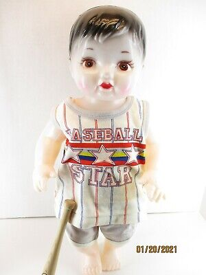"""19"""" Vintage Plastic Boy Doll with baseball outfit and a Louisville Slugger bat"""