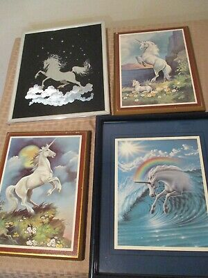 Vintage Lot Of  4 80's 1980's Unicorns White Horse Framed Pictures Wooden Hyat