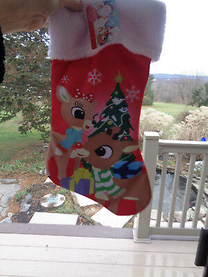 Rudolph the Red Nosed Reindeer Christmas Stocking Satin Furry Holiday 17 in. NWT - Rudolph Stocking