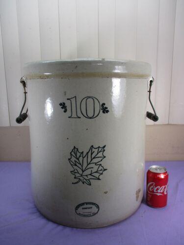 Antique Western Stoneware 10 Gallon Crock Wire Wood Handles Maple Leaf   -MINTY-