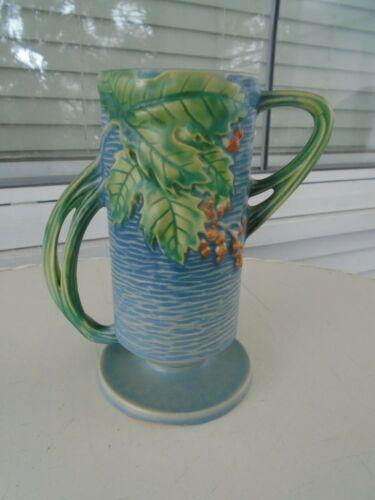 Vintage Roseville Blue Bushberry Footed Double Handled Vase